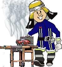 Feuerwehrmann grillt