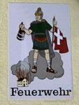 Der Heilige Florian am Feuerwehrhaus in Warzenried.