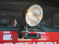 Arbeitsscheinwerfer der Feuerwehr ohne Streuschreibe